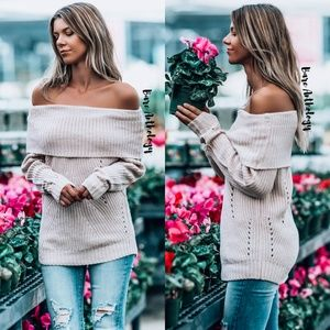 Sweaters - Off Shoulder Blush Foldover Sweater